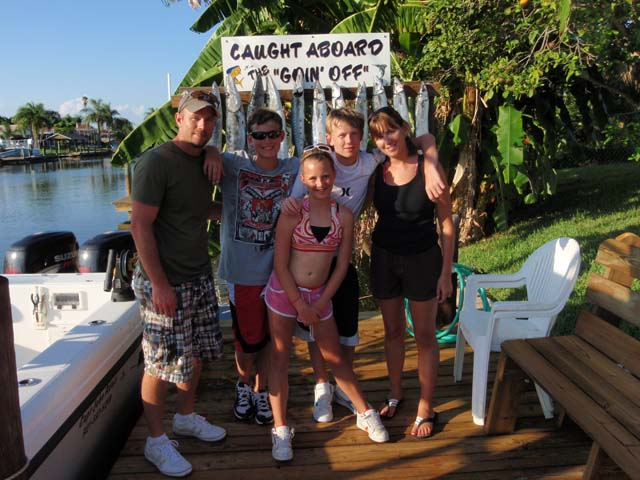 Another happy family crew after a fun day fishing aboard the Goin Off in beautiful Cocoa Beach, Florida.