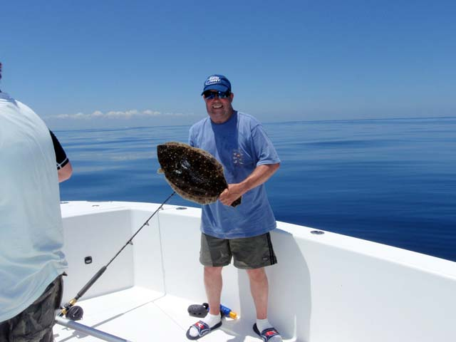A doormat Flounder caught Deep Sea fishing aboard the Goin Off while fishing out of Port Canaveral near Cocoa Beach