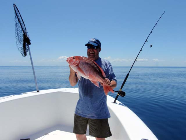 A keeper Red Snapper caught Deep Sea fishing aboard the Goin Off while fishing out of Port Canaveral near Cocoa Beach